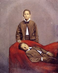 Victorian post-mortem photo of a little black boy and his twin brother. Louis Daguerre, Memento Mori, Post Mortem Pictures, Victorian Photos, Victorian Era, Creepy Photos, Post Mortem Photography, After Life, Jeepers Creepers