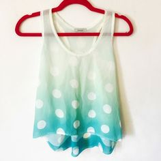 💰⬇️ Sheer Polkadotted Shirt This pretty shirt is covered with large polkadots as the colors transition from white to a slight green to a blue. Perfect shirt for the summer. Sheer and airy.  ***ALSO FOUND ON Ⓜ️ ERCARI @shopcherrypop W/ FREE SHIPPING!! Tops Tank Tops