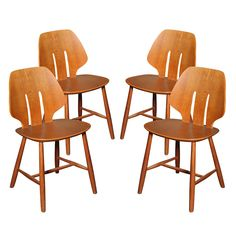 1stdibs - Set of 4 Oak Dining Chairs by Ejvind Johansson