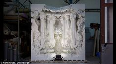 Creative duo Michael Hansmeyer and Benjamin Dillenburger created the grand space called 'Digital Grotesque' that measures 16 square metres and has an incredible 260 million facets  Read more: http://www.dailymail.co.uk/sciencetech/article-2425446/3D-printed-ROOM-looks-like-beautiful-interior-cathedral.html#ixzz3pJeZtuqf  Follow us: @MailOnline on Twitter   DailyMail on Facebook