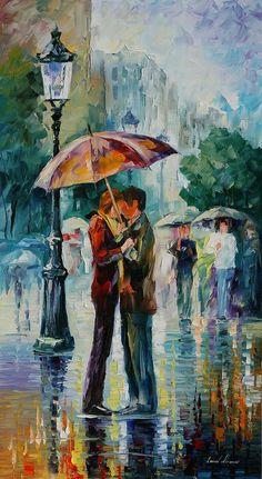 Rainy Kiss - Leonid Afremov print