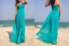 Aqua turquoise couleur bleu vert en mousseline de soie longueur maxi robe toute la taille