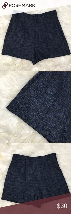 Zara Woman Tweed Navy Black Dress Shorts In excellent used condition. Material is 85% cotton & 15% polyurethane. Has side pockets. Front center hidden black zipper with flap over & button closure. No lining. ❌NO TRADES OR PAYPAL❌ Zara Shorts