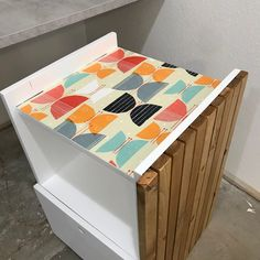 I added a pop of color with some leftover wallpaper and love it! Hanging File Folders, Printer Cabinet, Diy Furniture Plans, Cabinet, Creative Furniture, Furniture Plans, Outdoor Storage Box, Filing Cabinet, Cool Furniture