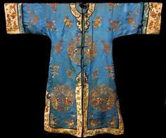 Antique Chinese Silk Embroidery Robe Qing All Embroidered Peking Forbidden Knot  #QingDynasty