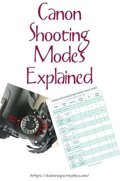 Canon DSLR Camera Modes Canon Camera Shooting Modes explained with free cheat sheet. Canon Camera Shooting Modes explained with free cheat sheet. Dslr Photography Tips, Photography Cheat Sheets, Photography Lessons, Photography For Beginners, Photography Tutorials, Digital Photography, Photography Hashtags, Photography Magazine, Photography Business