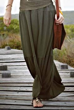 Jersey tiered maxi skirt