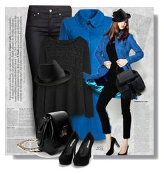 How to wear -  Blue Coat by breathing-style on Polyvore featuring polyvore, fashion, style, H&M, Nly Shoes, Anja and clothing