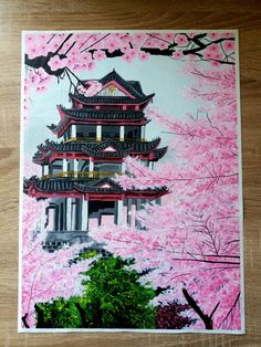 Acrylic painting of a Chinese Temple on cloth 300 Dimensions: 297 cm Buddha Art, Beautiful Artwork, Temple, Art Prints, Chinese, Drawings, Creative, Blog, Painting