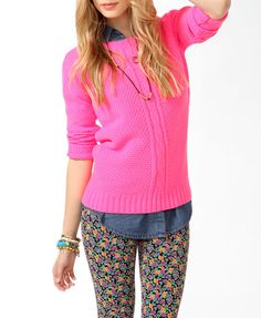 Hmmmm...wearing the denim blouse underneath the pink sweater paired with floral leggings. CUTE!!!