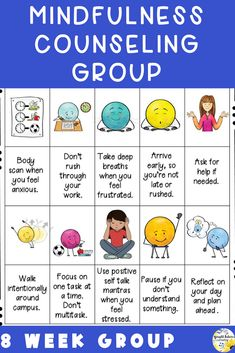 Mindfulness activities for kids. 8 week mindfulness counseling group for upper elementary and middle school students. Includes mindfulness strategies, deep breathing exercises, and guided meditations. Group Counseling, School Counseling, Elementary School Counselor, Elementary Schools, World History Lessons, Bullying Prevention, Mindfulness Activities, Social Emotional Learning, Character Education