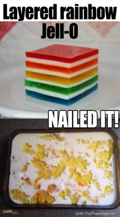 rainbow jello nailed it Rainbow Jello, Food To Make, Nails, Breakfast, Desserts, Crafts, Finger Nails, Morning Coffee, Deserts