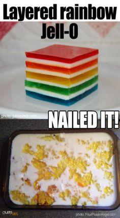 rainbow jello nailed it Rainbow Jello, Food To Make, Nails, Breakfast, Desserts, Crafts, Finger Nails, Morning Coffee, Tailgate Desserts