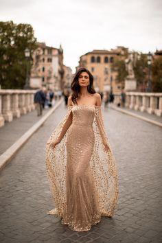 Elegant Dresses, Pretty Dresses, Beautiful Dresses, Grad Dresses, Wedding Dresses, Off Shoulder Gown, Gold Dress, Gold Gown, Sequin Gown