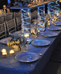 #blue wedding table ... blue pintuck ... Wedding ideas for brides, grooms, parents & planners ... https://itunes.apple.com/us/app/the-gold-wedding-planner/id498112599?ls=1=8 ... plus how to organise your entire wedding ... The Gold Wedding Planner iPhone App ♥