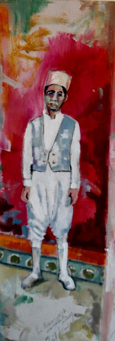 """Fred Gowland 'Doorman at the Hotel Mamounia #2' Oil on Canvas 12"""" x 6"""""""