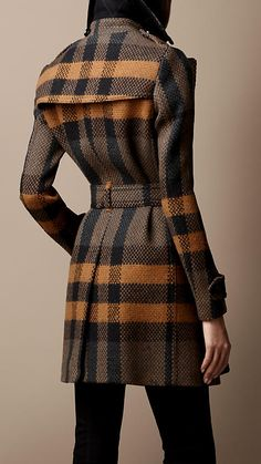 Mid-Length Woven Check Wool Trench Coat | Burberry