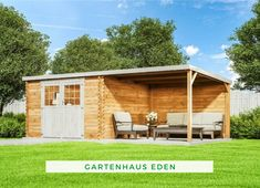 Garden shed terrace: Garden shed Eden Terrace Garden, Tiny House, Garage Doors, Shed, Outdoor Structures, Outdoor Decor, Home Decor, Home And Garden, Room Interior