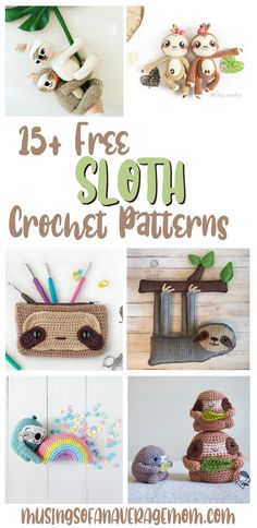 More than 15 super cute and Free! Sloth Crochet Patterns Crochet Cross, Love Crochet, Crochet Yarn, Crochet Things, Crochet Stitches, Easy Beginner Crochet Patterns, Crochet For Beginners, Crochet Sloth, Crochet Animals
