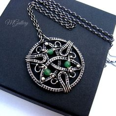 Triquetra - pendant with green onyx, silver, wire-wrapped by GaleriaM