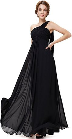 5a8f29abc7b7 Ever-Pretty Womens One Shoulder Floor Length Evening Dress 4 US Black at  Amazon Women s Clothing store  Sexy Gowns