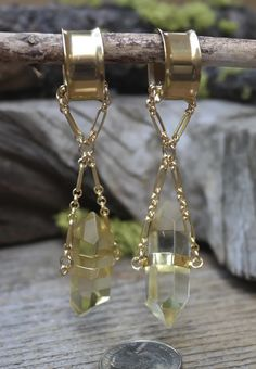 Gorgeous Magnetic Clasp Gauged Earrings made from Yellow Crystal. Huge Selection…
