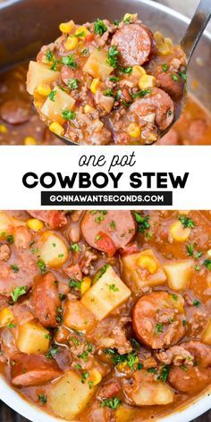 Easy Soup Recipes, Crockpot Recipes, Cooking Recipes, One Pot Recipes, Vegetarian Recipes, Cowboy Stew, Beef Dishes, One Pot Dishes, Soup And Sandwich