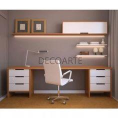 escritorio con repisas y estante con iluminacion led melamin