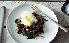 Slow-Cooked Tuscan Kale with Pancetta, Bread Crumbs, and a Poached Egg recipe on + 12 other Ways to Eat Genius Slow-Cooked Kale (Besides By the Mouthful, With Your Hands) Egg Recipes, Cooking Recipes, Healthy Recipes, Healthy Eats, Vegetarian Recipes, Cooking Kale, Vegetarian Grilling, Kale Recipes, Healthy Grilling