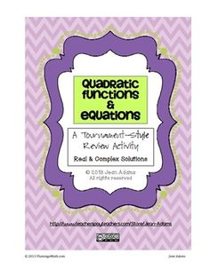 This is my free item! It covers Algebra 2 content for the end-of-the-chapter review.  There are 47 questions to play the tournament with students in groups of 3 or 4. The content includes solving quadratics by graphing, completing the square, factoring, square root method, and quadratic formula.