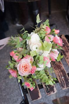 Wedding bouquet / roses, ranunculus, eucalyptus