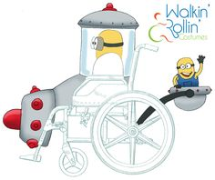 "This ""Minions"" inspired costume would go around a child's wheelchair featuring the child as the Minion actually driving the contraption."