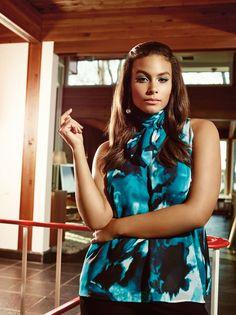Michel Studio aqua printed bow blouse from Addition Elle spring 2016 plus size fashion