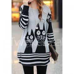 Sweet Style Scoop Neck Cat Print Striped Long Sleeve Loose Fit T-Shirt For Women