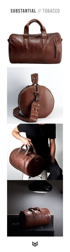 Substantial Tobacco leather duffel bag. Made of full grain leather and  cotton lining e101249690538