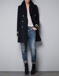 WOOL COAT WITH KNIT COLLAR - Jackets - TRF - ZARA United States