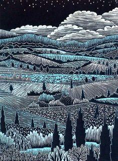 Italian Landscape II woodcut print by Daryl Storrs