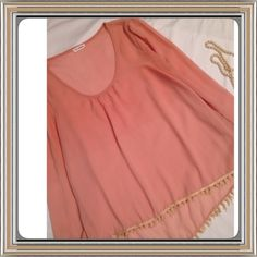 Boho Sheer Top Cute boho top with adorable fringe hem. Excellent condition! Dark peach color. Blu Pepper Tops Blouses