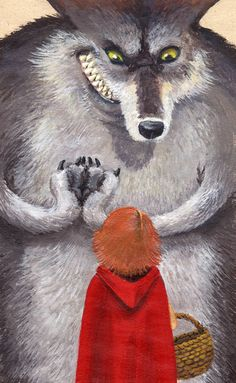 Wolf Heart - Little Red Riding Hood Little Red Hood, Little Red Ridding Hood, Red Riding Hood, Illustrations, Children's Book Illustration, Charles Perrault, Big Teeth, Big Bad Wolf, Red Hats