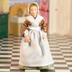 Agnes is a pretty Georgian-style maid, perfect for the kitchen or store room. Doll height 140mm               Part Number: 5778