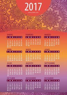Calendario 2017 en español con Mandalas para imprimir Gratis