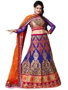 Blue Net Wedding Lehenga Choli 59602