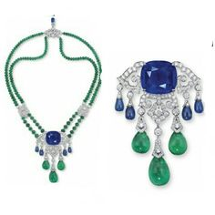 CLOSE UP:  DESIGNED AS AN OPENWORK BRILLIANT-CUT DIAMOND GIRANDOLE PENDANT, SET TO THE CENTRE WITH A CUSHION-SHAPED SAPPHIRE WEIGHING APPROXIMATELY 45.82 CARATS, SUSPENDING GRADUATED SAPPHIRE AND EMERALD DROPS, TO THE DOUBLE-STRAND EMERALD BEAD NECKCHAIN WITH DIAMOND ROUNDEL ACCENTS, JOINED AT INTERVALS BY BRILLIANT-CUT DIAMOND STYLIZED LINKS, THE CLASP FURTHER ENHANCED BY A SAPPHIRE DROP (WITH BROOCH FITTING), MOUNTED IN PLATINUM, 40.5 CM LONG, IN RED LEATHER CARTIER CASE