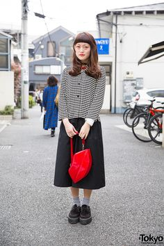 Harajuku Girl in Black & White Outfit