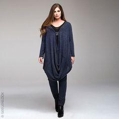 SEELENLOOK #NEWS  Stricktunika von MAT Fashion Anthrazit-Blau Gr. 40-46. Im Onlineshop ansehen: https://seelenlook.de/damenmode-neuheiten #Lagenlook #Plussize #Oversize #Fashion #Mode #Style