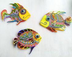 Fish Sculpture, Sculptures, Clay Wall Art, Fisherman Gifts, Talavera Pottery, Seaside Decor, Colorful Artwork, Mexican Folk Art, Cat Art