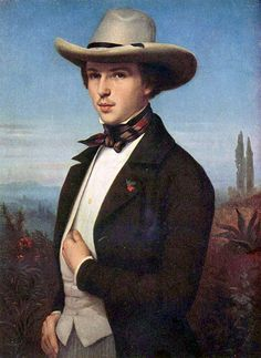 Portrait of Oswald Achenbach c.1850 by Ludwig des Coudres (1820-1878) Landscape painter, Oswald Achenbach, wears a stylish and practicle broad-brimmed hat for a painting tour of Italy, along with a striped ascot and trousers. Like the tie, low-cut waistcoat and the buttonhole.