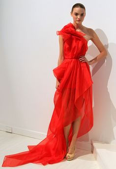 bright red silk organza.