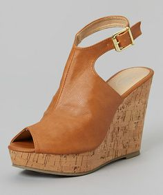 This Light Cognac Peep-Toe Wedge Sandal is perfect! #zulilyfinds
