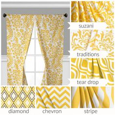 Our yellow curtain panel window treatments are sure to brighten up any room or space! This listing includes a pair of curtain panels or a single valance in a bright and cheery yellow available in a variety of print options including: damask, stripe, chevron and diamond. Perfect for a nursery, bedroom, kitchen, living room or any room! L I S T I N G D E T A I L S : -- Includes 2 Curtain Panels (pair) or a Single Valance -- Unlined -- Colors Include: Corn Yellow on a True White Background…